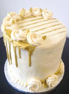 Tall Golden Drip Birthday Cake